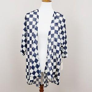 Lularoe Blue & White Lindsay Kimono 》 #T102